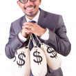 Man with sacks of money on white - Stock Photo