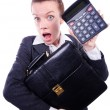 Stock Photo: Nerd female accountant with calculator