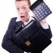 Nerd female accountant with calculator — Stock Photo