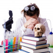 Crazy woman chemist in lab - Foto Stock