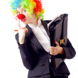 Stock Photo: Womclown in business suit