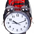 Stock Photo: Womwith dynamite and clock on white