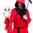 Stock Photo: Executioner in red costume with axe on white