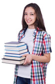 Student girl with many books on white — Stok fotoğraf