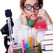 Stock Photo: Crazy woman chemist in lab