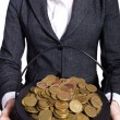 Woman holding pot of gold coins — Stock Photo