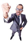 Funny nerd businessman isolated on white — Stock Photo