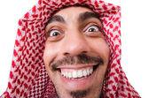śmieszne arabskiej mężczyzna na białym tle — Zdjęcie stockowe