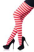 Uzun bacakları ve çorap kadın ile — Stok fotoğraf