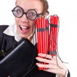 Businesswoman with dynamite on white - Stock Photo
