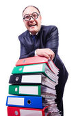 Funny man with lots of folders on white — Stock fotografie