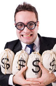 Man with money sacks on white — Stock Photo