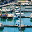 Port with many yachts on summer day - Stock Photo