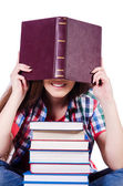 Student with books isolated on white — Stock Photo