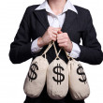 Woman with sacks of money on white — Stock Photo #24770931