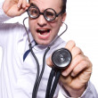 Funny doctor isolated on the white — Foto de Stock