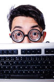 Funny computer geek isolated on white — Stok fotoğraf