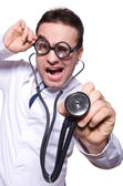 Funny doctor isolated on the white — Stock Photo
