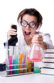 Crazy woman chemist in lab — ストック写真
