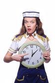 Marinero con reloj aislado en blanco — Foto de Stock