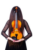 Young performer with violin on white — Stock Photo
