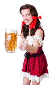 Bavarian girl with tray on white — Stock Photo