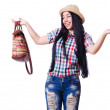 Young woman ready for summer vacation on white - Stock Photo