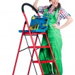 Woman repair worker with ladder — Stock Photo