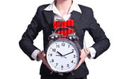 Woman with dynamite and clock on white — Stock Photo