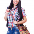 Young woman ready for summer vacation on white — Stock Photo