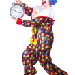 Clown with clock on white — Stock Photo