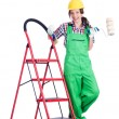 Woman repair worker with ladder - Stock Photo