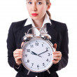 Woman businesswoman with giant clock - Zdjęcie stockowe