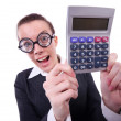 Nerd female accountant with calculator - Zdjęcie stockowe