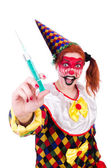 Clown in the costume isolated on white — Stok fotoğraf