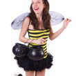 Woman in bee costume isolated on white — Stock Photo