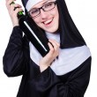 Nun with bottle of wine on white - Foto de Stock