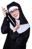 Nun with bottle of wine on white — Photo
