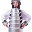 Cook with stack of pots on white - Foto Stock