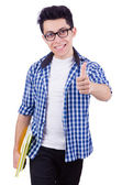 Student with lots of books on white — Stock Photo
