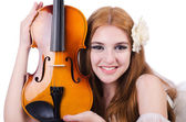 Young violin player isolated on white — Stock Photo