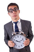 Businessman with clock isolated on white — Stock Photo