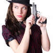 Woman gangster with handgun on white — Stock Photo