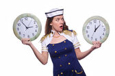 Marinheiro com relógio isolado no branco — Foto Stock