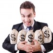 Businessman with sacks of money on white - Stock Photo