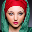 Muslim woman with headscarf in fashion concept — Foto de Stock