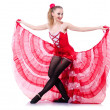 Girl in red dress dancing dance — Stock Photo