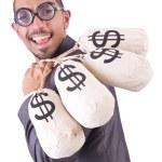 Man with money sacks on white — Stock Photo #25606115
