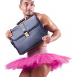 图库照片: Min tutu with briefcase on white