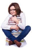 白で隔離される若い女性学生 — ストック写真